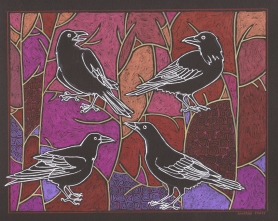 """FOUR-RAVEN TREE MOSAIC - 9"""" x 12"""" (image size: 7"""" x 9"""") mixed media drawing on black archival paper"""