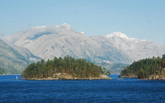 view through spotty ferry window of Gambier Island
