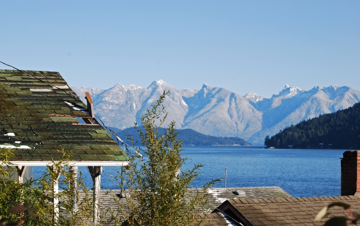 looking north up Howe Sound from Gibsons Landing